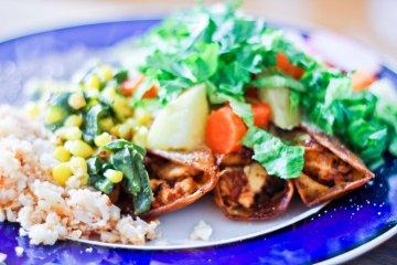 Vegan Enchiladas Queretanas with Cauliflower Rice / Mere Living / Mexican Recipe
