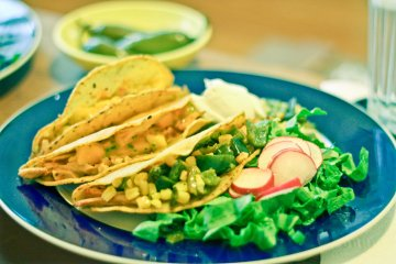 Vegan Chicken & Mango Tacos with Rajas & Corn Salad / Mere Living Food Blog / Mexican Recipe